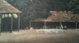 farm huts for War Horse (drew and painted left hut and trees)