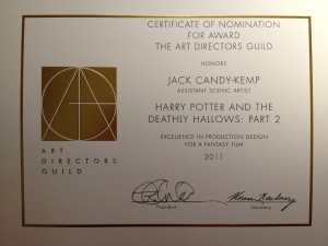Art Directors Guild certificate from New York